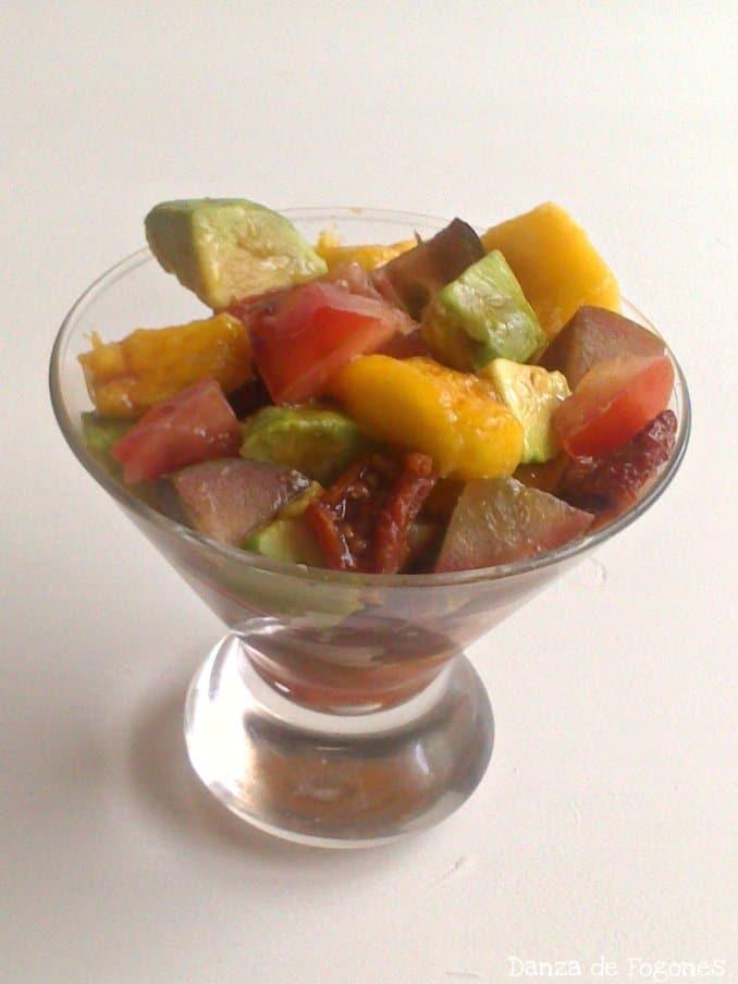 Ensalada de Aguacate, Tomates y Mango