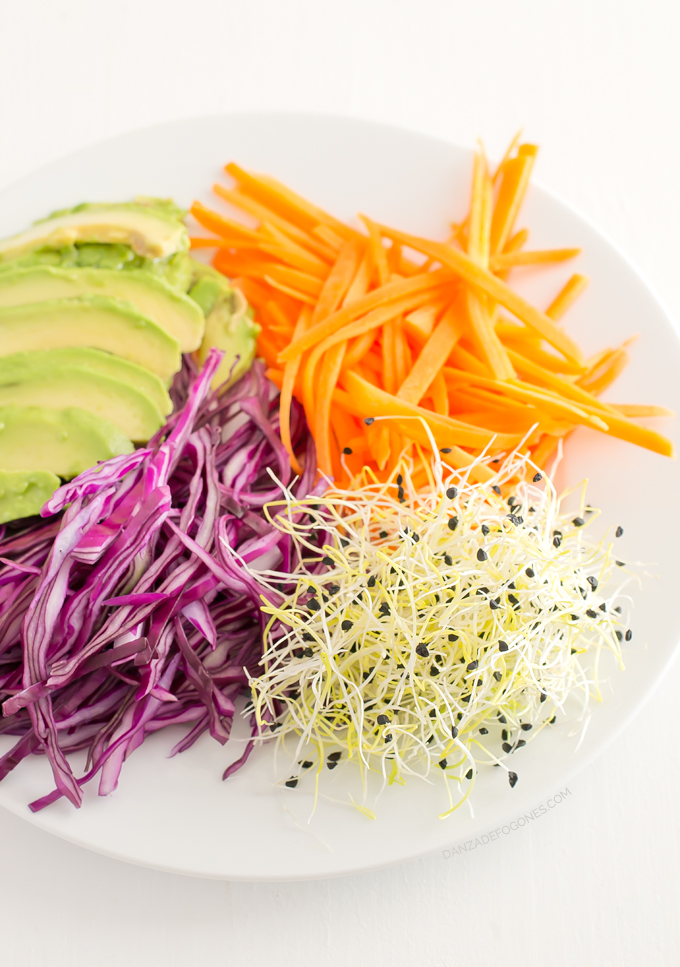 Ingredientes rollitos de verano: lombarda, zanahoria, brotes de ajo y aguacate
