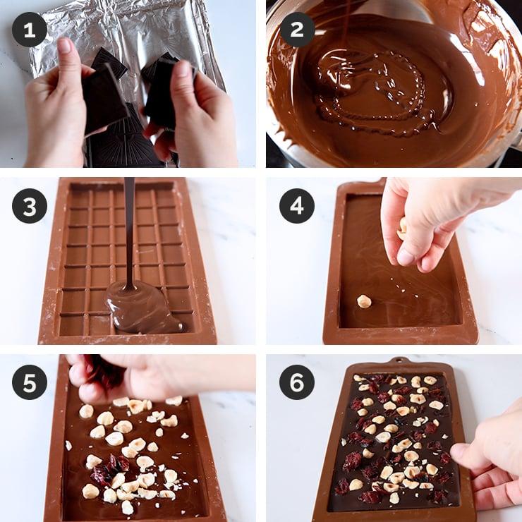 Fotos de cómo hacer tableta de chocolate con avellanas y frutas secas paso a paso