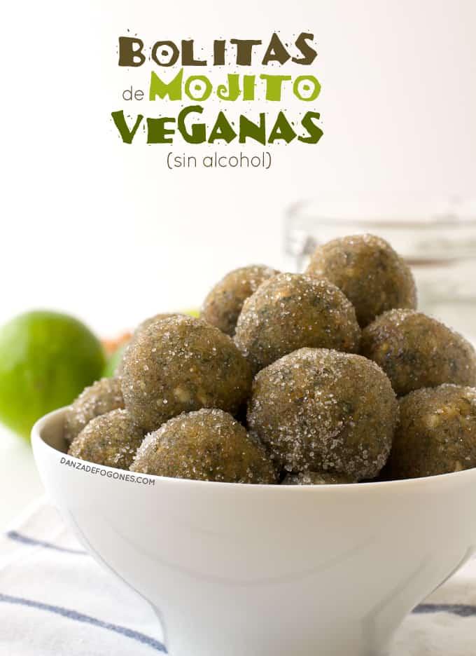Bolitas de mojito veganas sin alcohol | danzadefogones.com