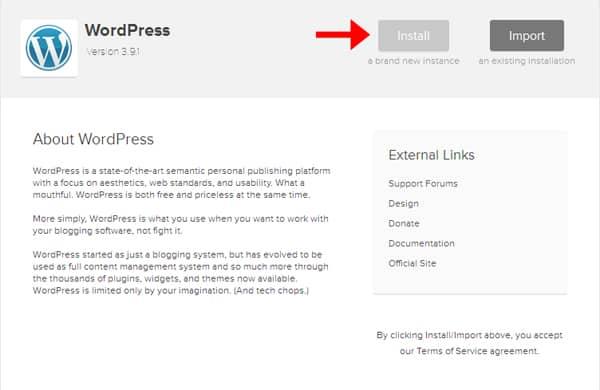 Cómo crear un blog de cocina | Instalar nuevo sitio de WordPress