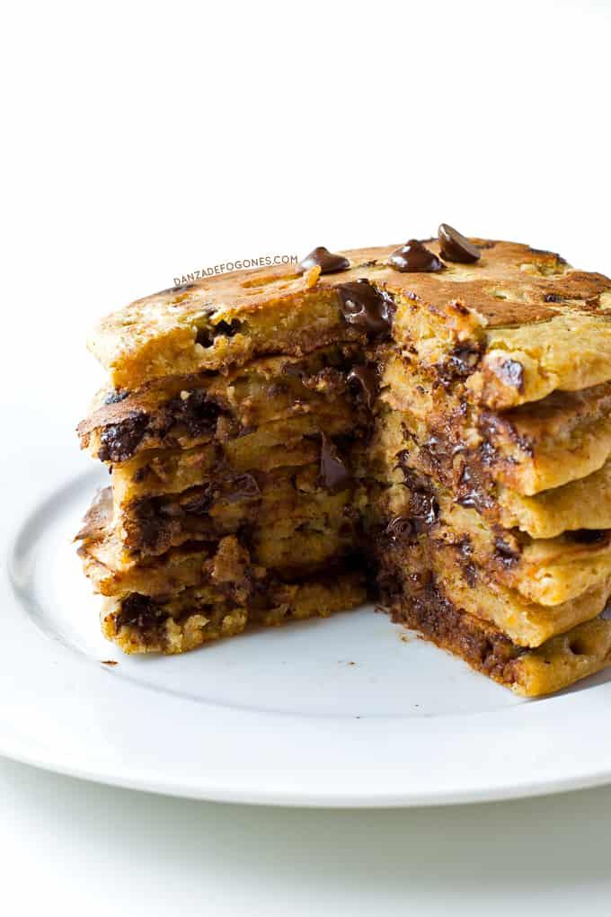 Tortitas de calabaza y chocolate | danzadefogones.com #receta #vegano #danzadefogones