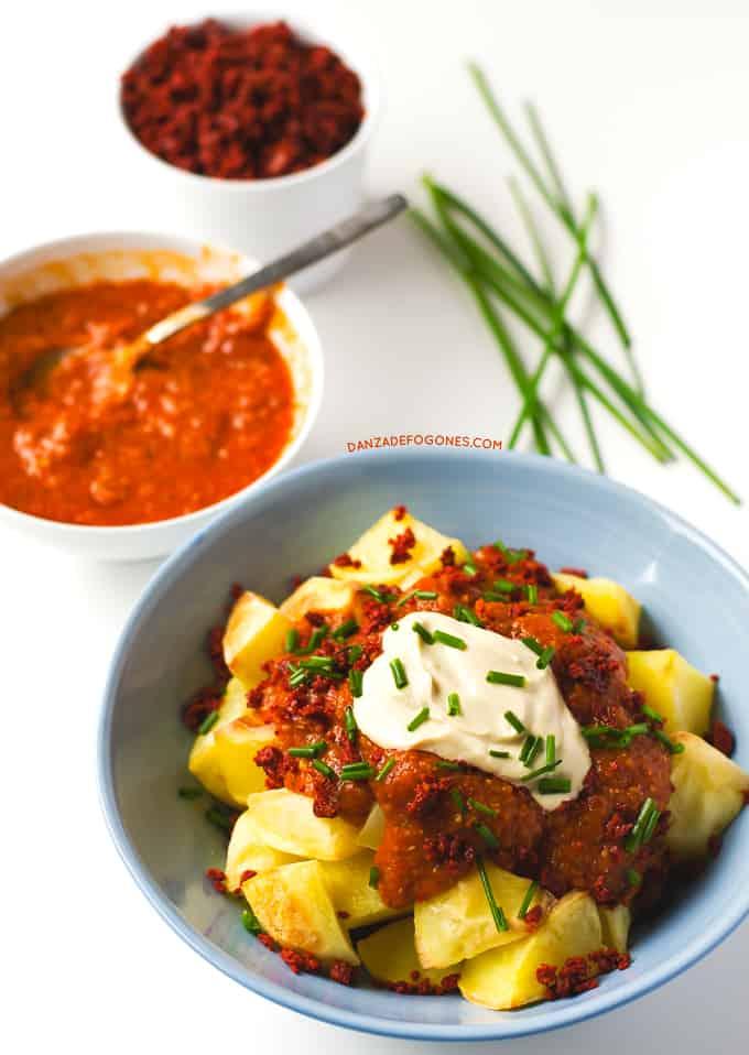 Patata con Chorizo Vegano | danzadefogones.com #receta #vegano #vegana #danzadefogones