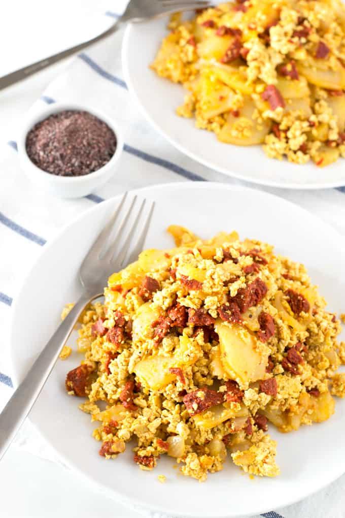 Revuelto Vegano de Chorizo con Patatas