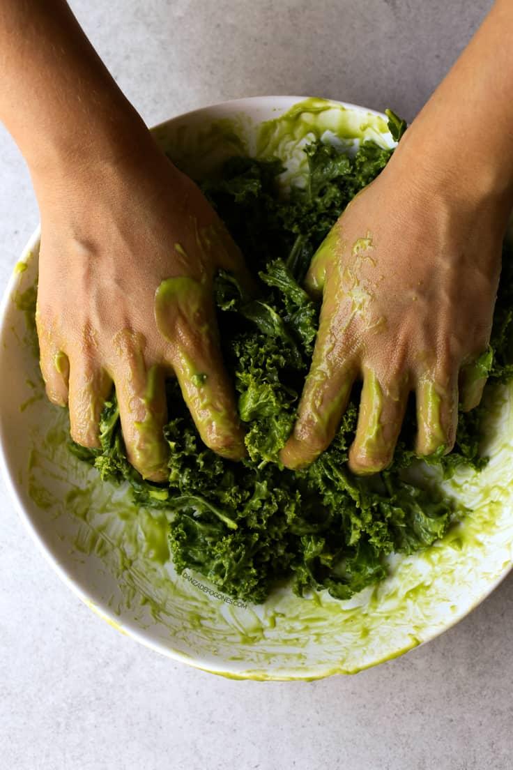 Como masajear kale | danzadefogones.com #vegan #vegano