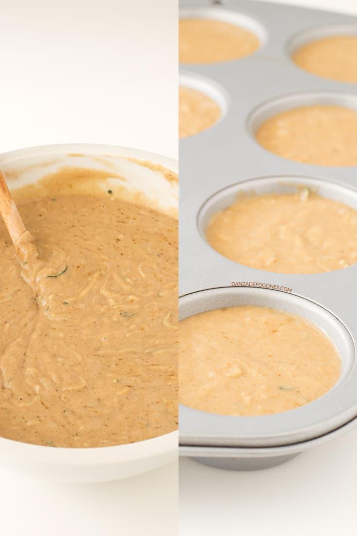 Muffins de calabacín veganos y sin gluten paso a paso | danzadefogones.com #vegano #vegan