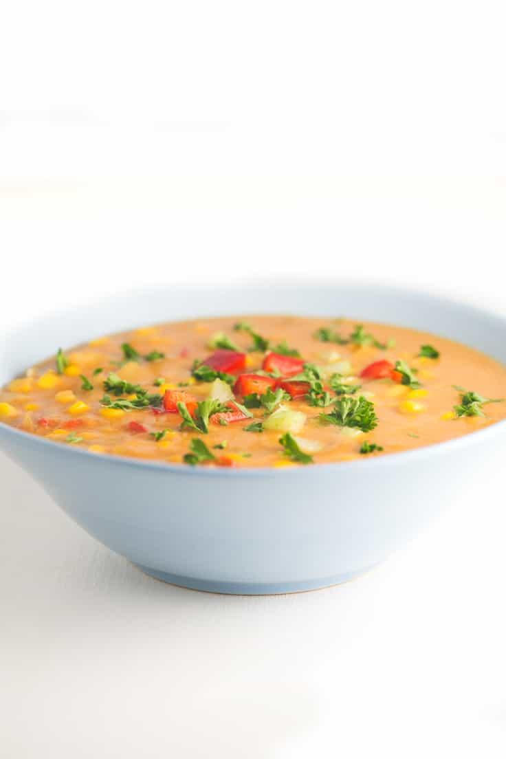 Sopa de maíz - Esta sopa de maíz es nuestra versión de una receta típica de Estados Unidos llamada Corn Chowder. Está deliciosa y se prepara en 30 minutos.