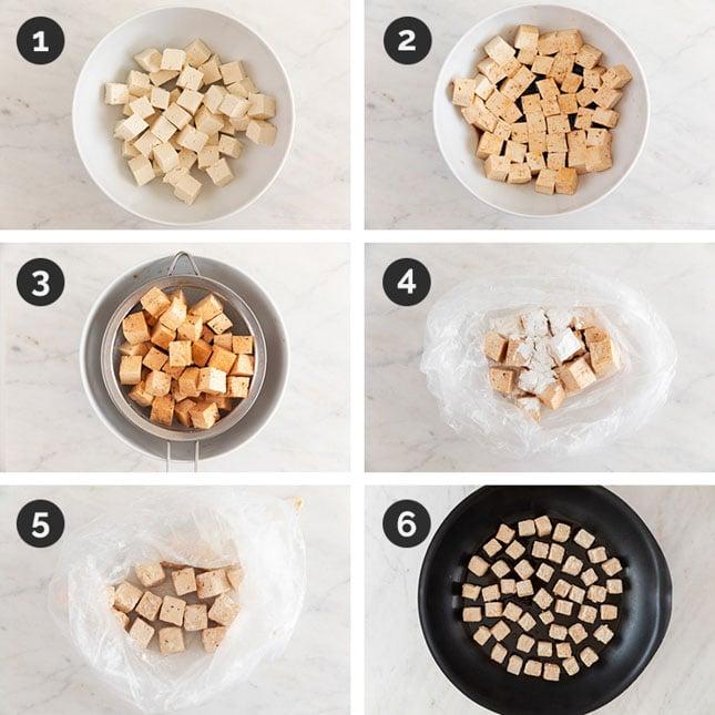 Fotos del paso a paso de cómo preparar tofu general Tso