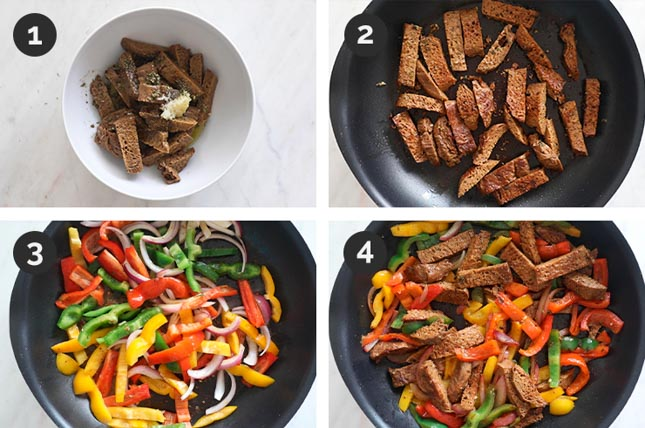 Foto paso a paso de cómo hacer fajitas veganas