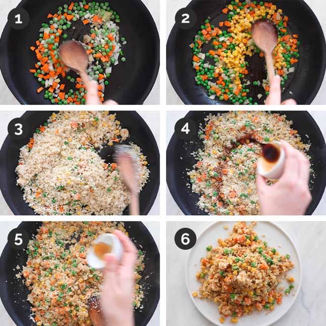 Fotos paso a paso de cómo preparar arroz frito de coliflor casero desde cero
