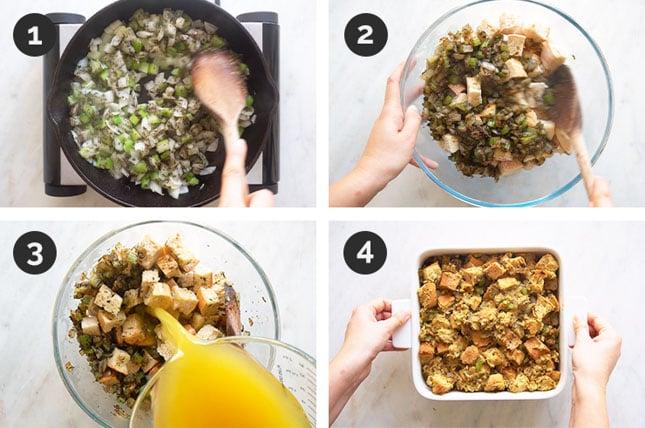Fotos paso a paso de cómo hacer stuffing o relleno vegano desde cero