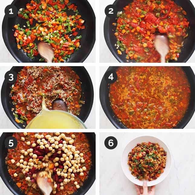Fotos paso a paso de cómo hacer arroz jambalaya vegano desde cero