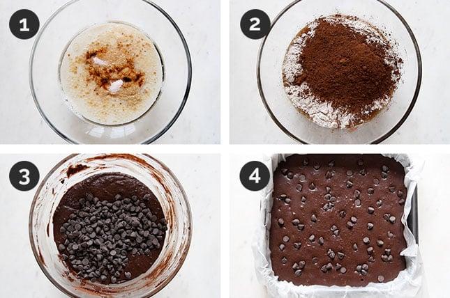 Fotos paso a paso de cómo hacer brownie vegano casero