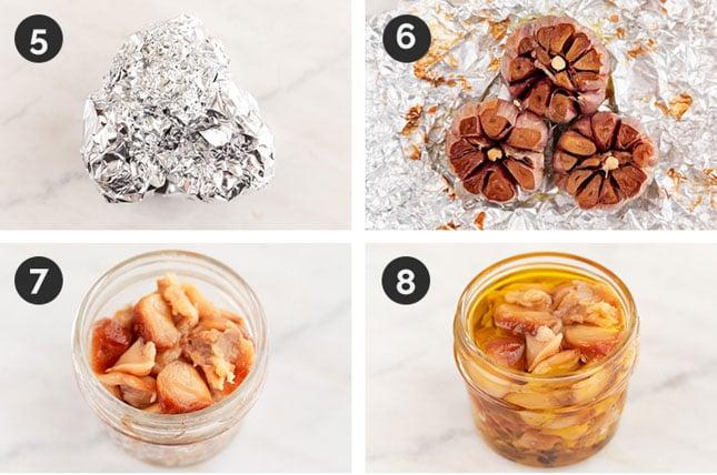 Collage de fotos del paso a paso de la receta de ajo asado