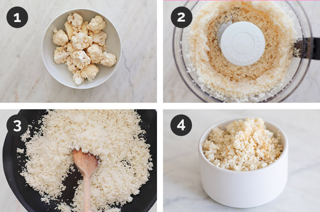 Fotos paso a paso de cómo preparar arroz de coliflor casero desde cero