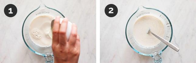 Fotos paso a paso de cómo hacer buttermilk vegano desde cero