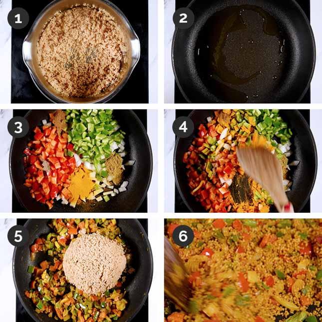 Fotos paso a paso de cómo hacer cuscús con verduras
