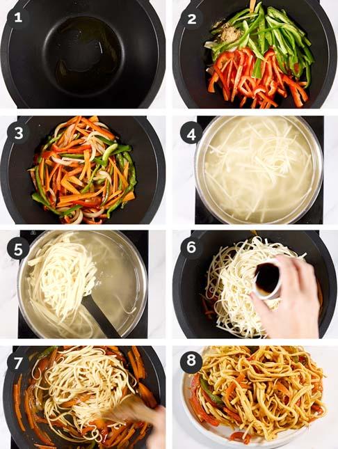 Fotos paso a paso de cómo hacer noodles con verduras