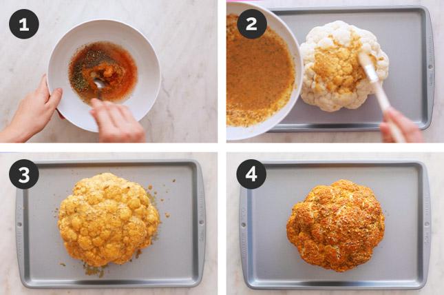 Fotos paso a paso de cómo coliflor asada desde cero