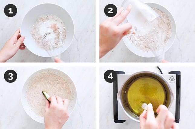 Fotos paso a paso de cómo tempura de verduras desde cero