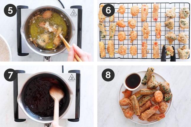 Fotos paso a paso de cómo tempura de verduras en casa