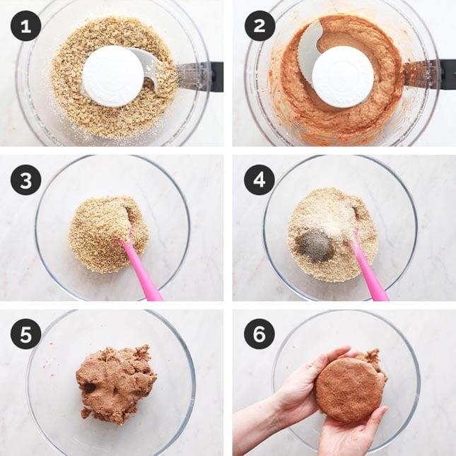Fotos paso a paso de cómo hacer hamburguesas veganas en casa