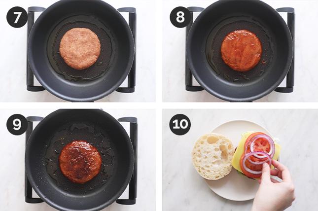 Fotos paso a paso de cómo hacer hamburguesas veganas desde cero
