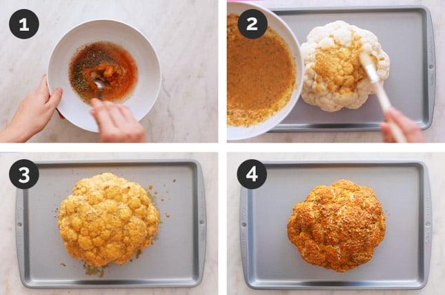 Fotos paso a paso de cómo hacer coliflor asada