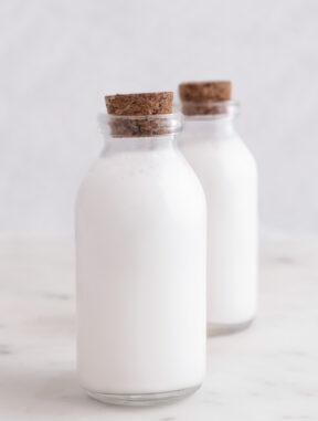 Foto de dos botes de cristal de leche de coco casera