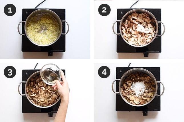 Fotos paso a paso de cómo hacer crema de champiñones
