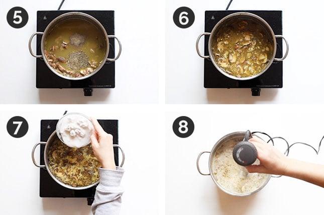 Fotos paso a paso de cómo hacer crema de champiñones casera