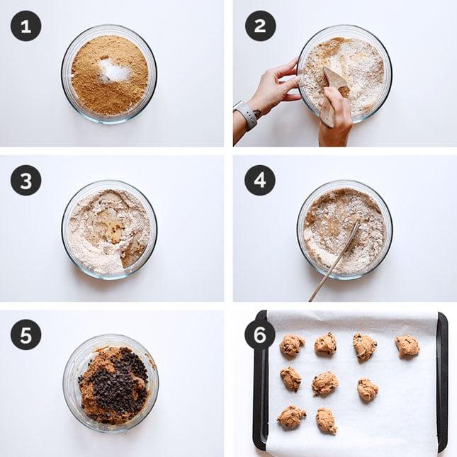 Fotos paso a paso de cómo hacer galletas veganas con chips de chocolate en casa