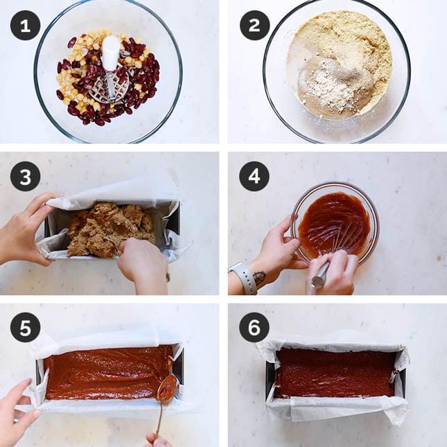 Fotos paso a paso de cómo hacer pastel de carne vegano en casa