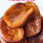 Foto de torrijas veganas cubiertas de sirope de agave con las palabras torrijas veganas