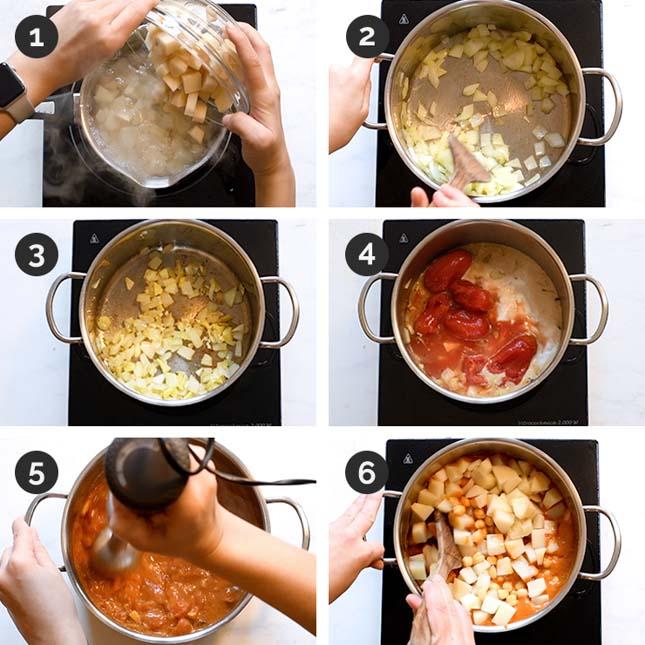 Fotos paso a paso de cómo hacer curry vegano