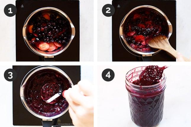 Fotos paso a paso de cómo hacer compota de frutos rojos