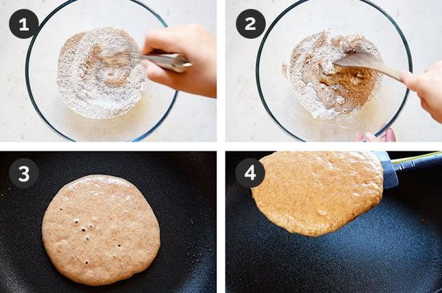 Fotos paso a paso de cómo hacer pancakes veganos en casa