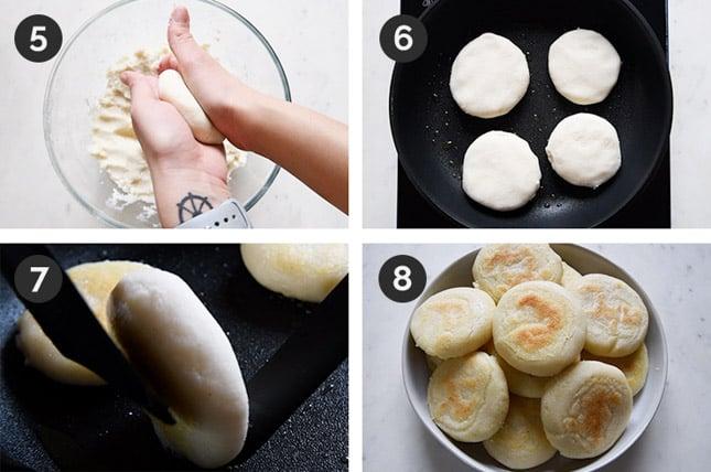 Foto de los 4 últimos pasos de cómo hacer arepas paso a paso