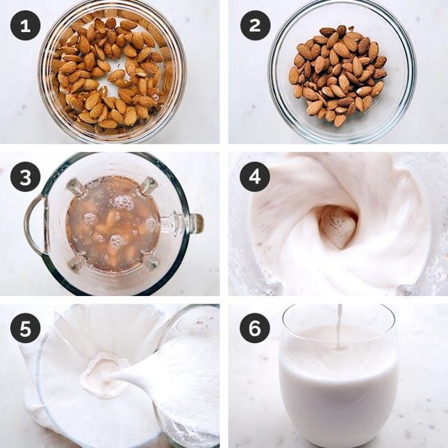 Fotos del paso a paso de cómo hacer leche de almendras