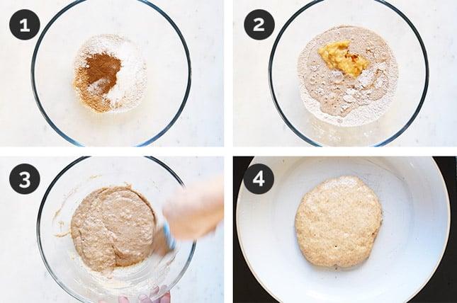 Fotos paso a paso de cómo hacer tortitas de plátano