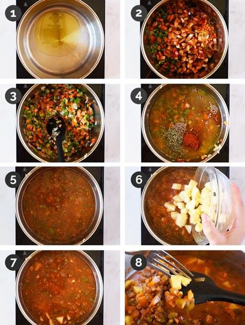 Fotos paso a paso de cómo hacer lentejas con verduras