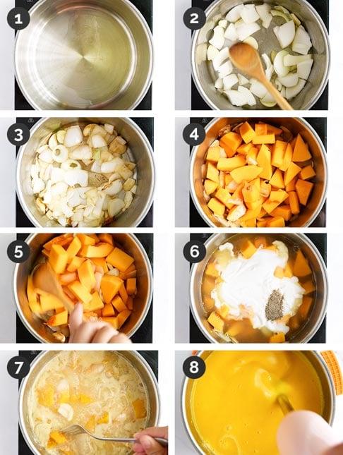 Fotos paso a paso de cómo hacer crema de calabaza