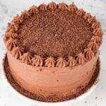 Foto cuadrada de una tarta de chocolate