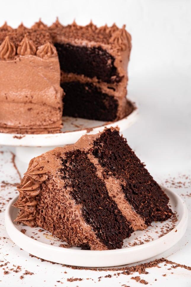 Foto de un trozo de tarta de chocolate