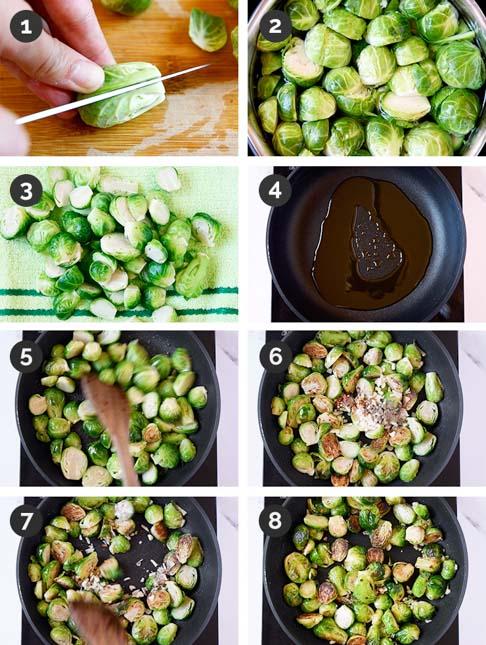 Fotos paso a paso de cómo hacer coles de Bruselas salteadas